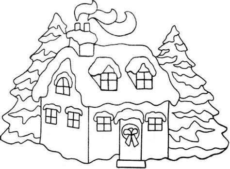 Snowy House Coloring Pages | xmas coloring pages
