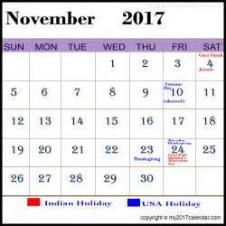 Calendar November 2017 With Holidays 2017 Calendar Printable 2017 Calendar