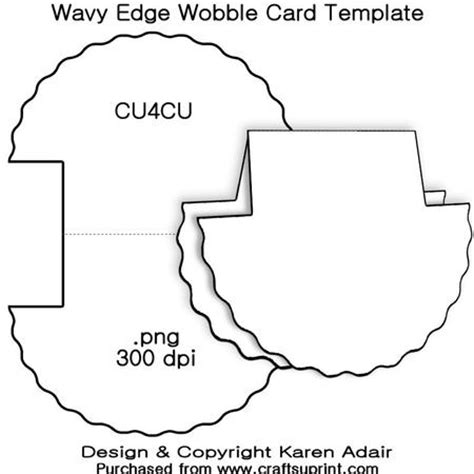 wobbler card template wavy edge wobble card template cup326982 168 craftsuprint