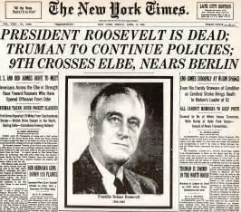 12th april 1945 president franklin d roosevelt dies in