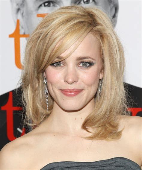rachel thinning hair rachel mcadams medium straight formal hairstyle with side