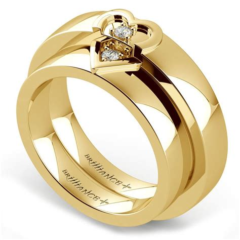 matching split wedding ring set in yellow gold