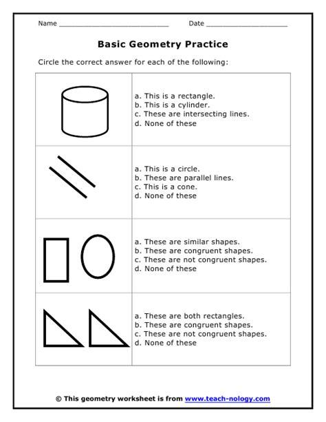 Beginning Geometry Worksheets Free by Basic Geometry Practice