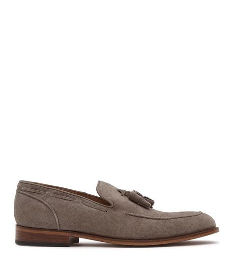 grey loafers for reiss suede tasselled loafers in gray for lyst