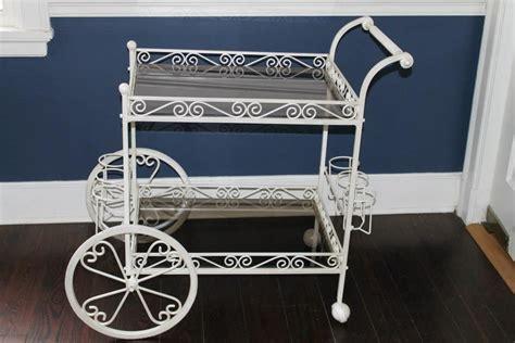white metal garden tea cart   plant   tea cart garden cart outdoor gardens