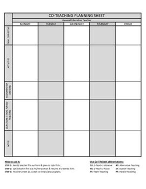 Co Teaching Planning Template Version 2 Of 3 Co Teaching Pinterest Other The O Jays And Co Teaching Planning Template