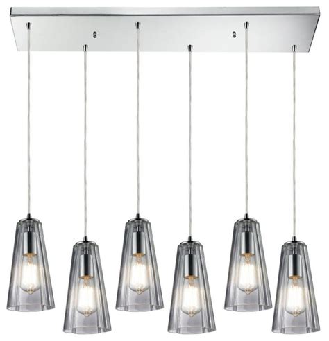 six light polished chrome multi light pendant