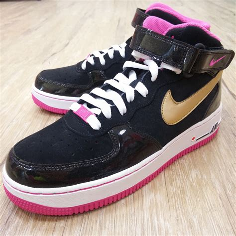Shoes Sport Nike Air One Putih Gold Casual Cewek nike air 1 mid gs black gold pink af1 casual shoes