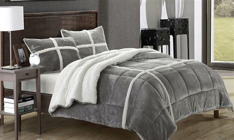 micro mink comforter 3 piece sherpa comforter set groupon goods