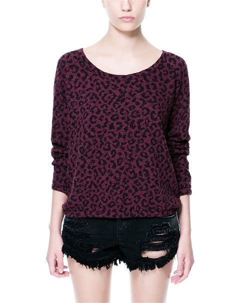 Aniimal Sweater zara animal print sweater in purple maroon lyst
