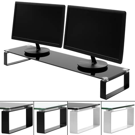 tv stand with computer desk x large double monitor screen riser block shelf computer