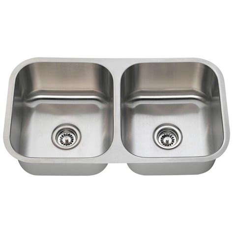 Bowl Undermount Stainless Steel Kitchen Sink by Polaris Sinks Undermount Stainless Steel 33 In