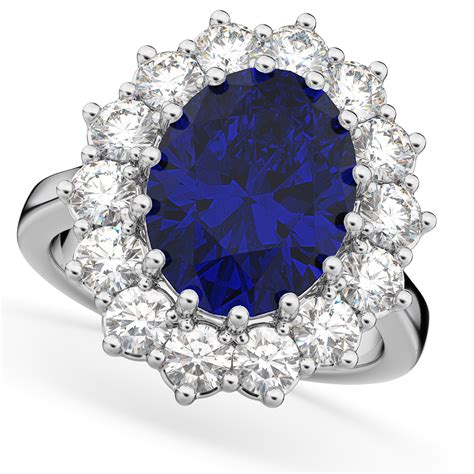 Blue Sapphire 10 40ct oval blue sapphire halo di ring 14k white