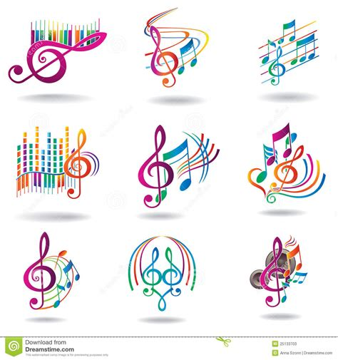 colorful music notes set of music design elements stock