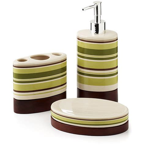 Hometrends Galerie 3 Piece Bath Accessories Set Walmart Com Walmart Bathroom Accessories