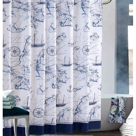 nautical anchor shower curtain cool blue and white nautical anchor shower curtains