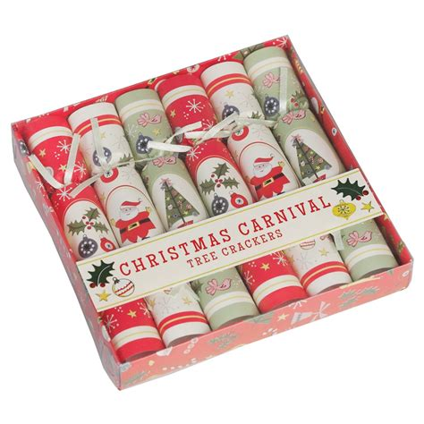 set of 6 christmas tree crackers