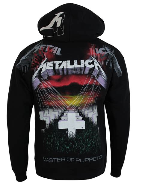 metallica master of puppets mens black hoodie new