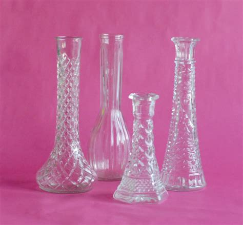 clear glass vintage 10 bud vase collection diy wedding decor