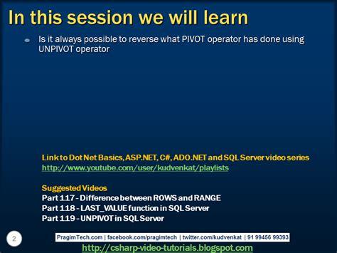 sql pivot query tutorial sql server net and c video tutorial reverse pivot