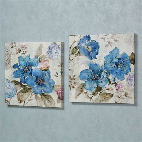 Floral Wall Decor by Blue Floral Delight Canvas Wall Set