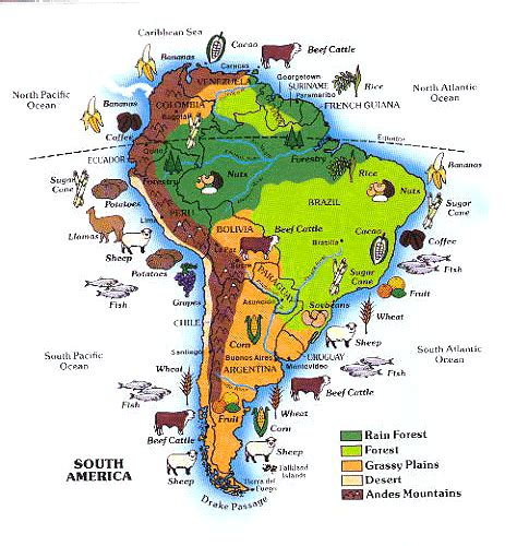 america map of resources south america map