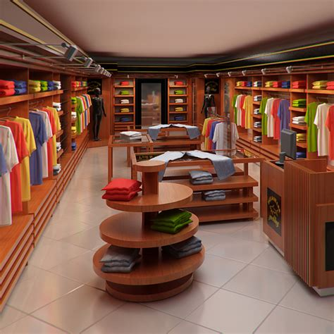 clothing store interior for men and women render ready