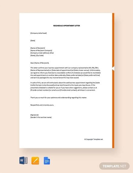 reschedule appointment letter templates samples
