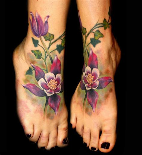 flower leg tattoos designs foot flowers by chris 51 of area 51
