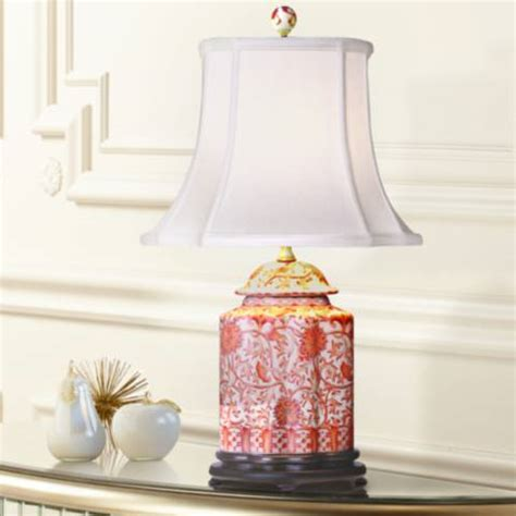 coral porcelain scalloped tea jar table l g7009