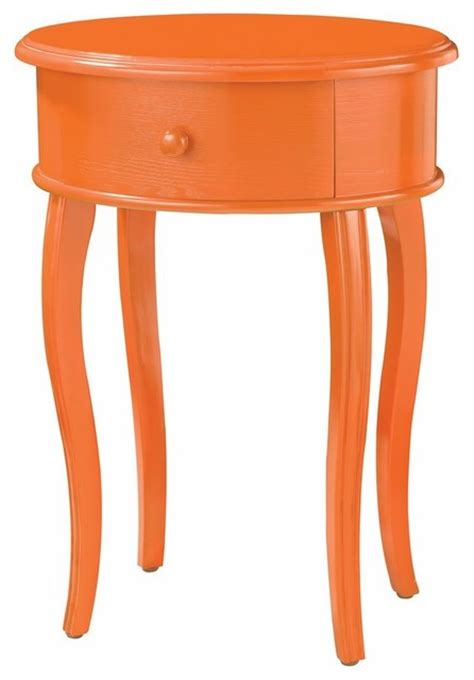 Orange Side Table Sterling Industries 18x14 Oval Accent Table In Orange With Drawer Contemporary Side Tables And