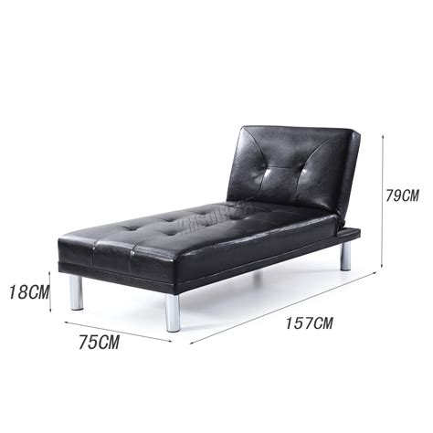 Single Leather Sofa Bed Foxhunter Chaise Longue Single Sofa Bed 1 Seater Faux Leather Chair Psb03 Ebay