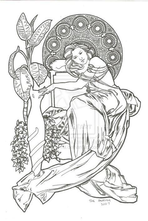 art nouveau coloring page detailed art nouveau coloring pages bing images color
