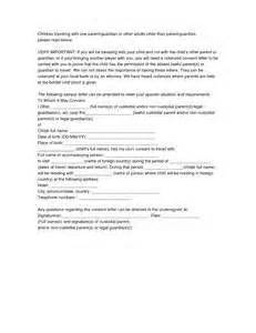Letter Authorization For Child Travel With Grandparents letter of consent for child to travel with grandparents