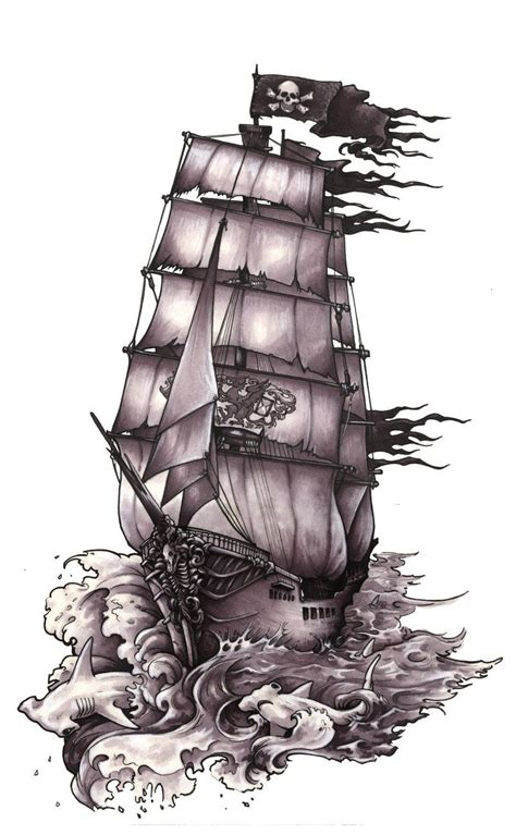 ship tattoo design pirate ship