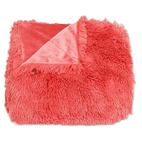 coral colored throws buy thro faux fur throw blanket in spiced coral