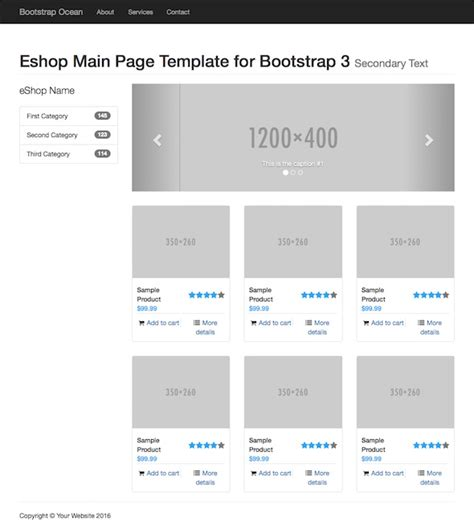 basic templates for bootstrap eshop main page eshop main page bootstrap starting template