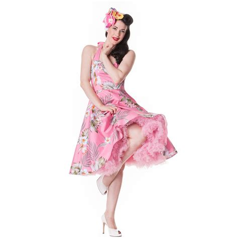 Maxi Brukat Alika Pink Hell Bunny Alika Tropical Hawaii Rockabilly Vintage 50s