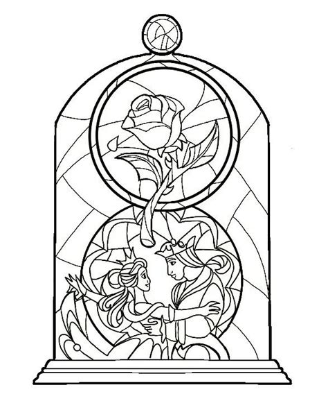 beauty and the beast stained glass coloring pages beauty and the beast rose stained glass coloring page