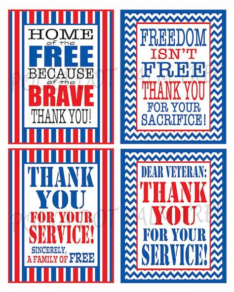 thank you for your service card template white and blue printable veteran patriotic