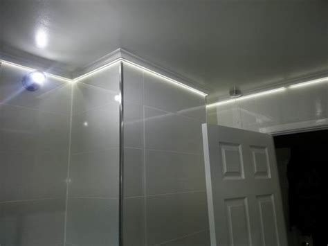 bathroom led lights led tape is concealed behind coving in this bathroom lighting project bathroom