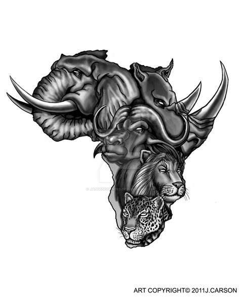 tattoo commission africa s big five by jaggedcorners on
