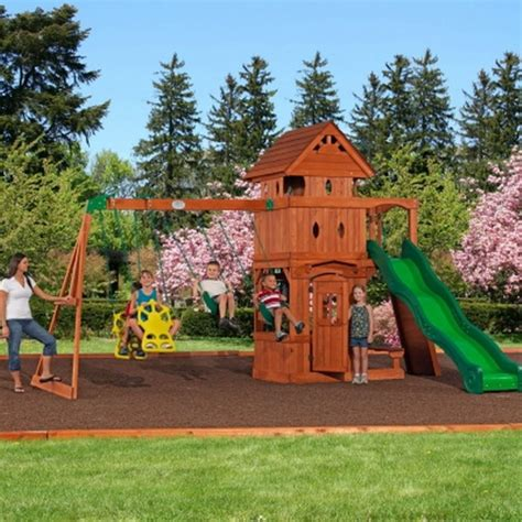 wooden playhouse with swing new outdoor playground wooden cedar swing set playhouse 10