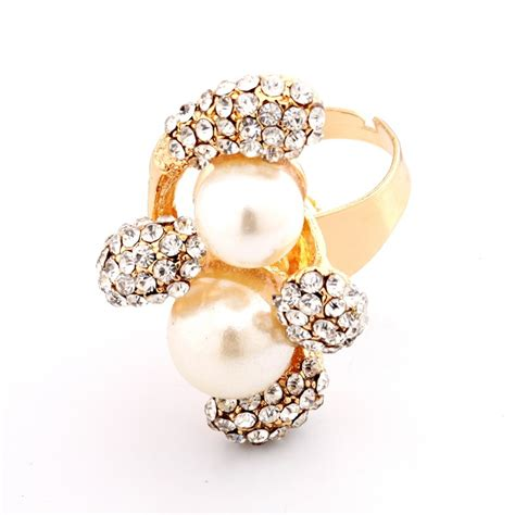 Pearl Flower Fashion fashion pearl flowers gold metal ring ring jewellery
