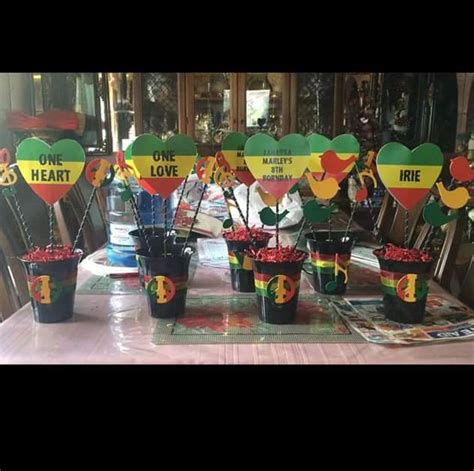 jamaican themed party food bob marley bedding rasta one love one heart reggae party hand made centerpieces