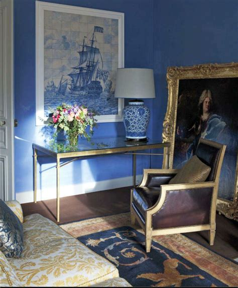 best english colour combination for living room regency style living room with cornflower blue walls and chocolate brown upholstered berger