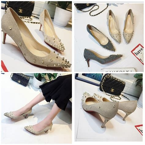 Sendal Sepatu Wanita High Heels Gold 7cm jual shh2017 gold sepatu pesta sequin 6cm grosirimpor