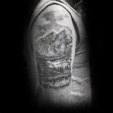 black and grey landscape tattoos 90 landscape tattoos for men scenic design ideas