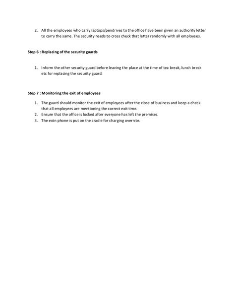 Sop For Security Security Sop Template
