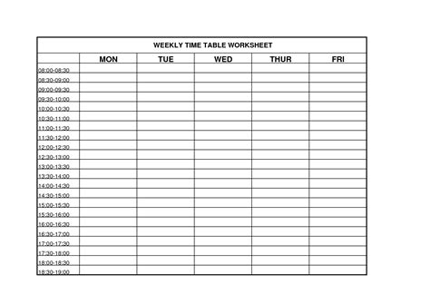6 best images of printable weekly time chart blank